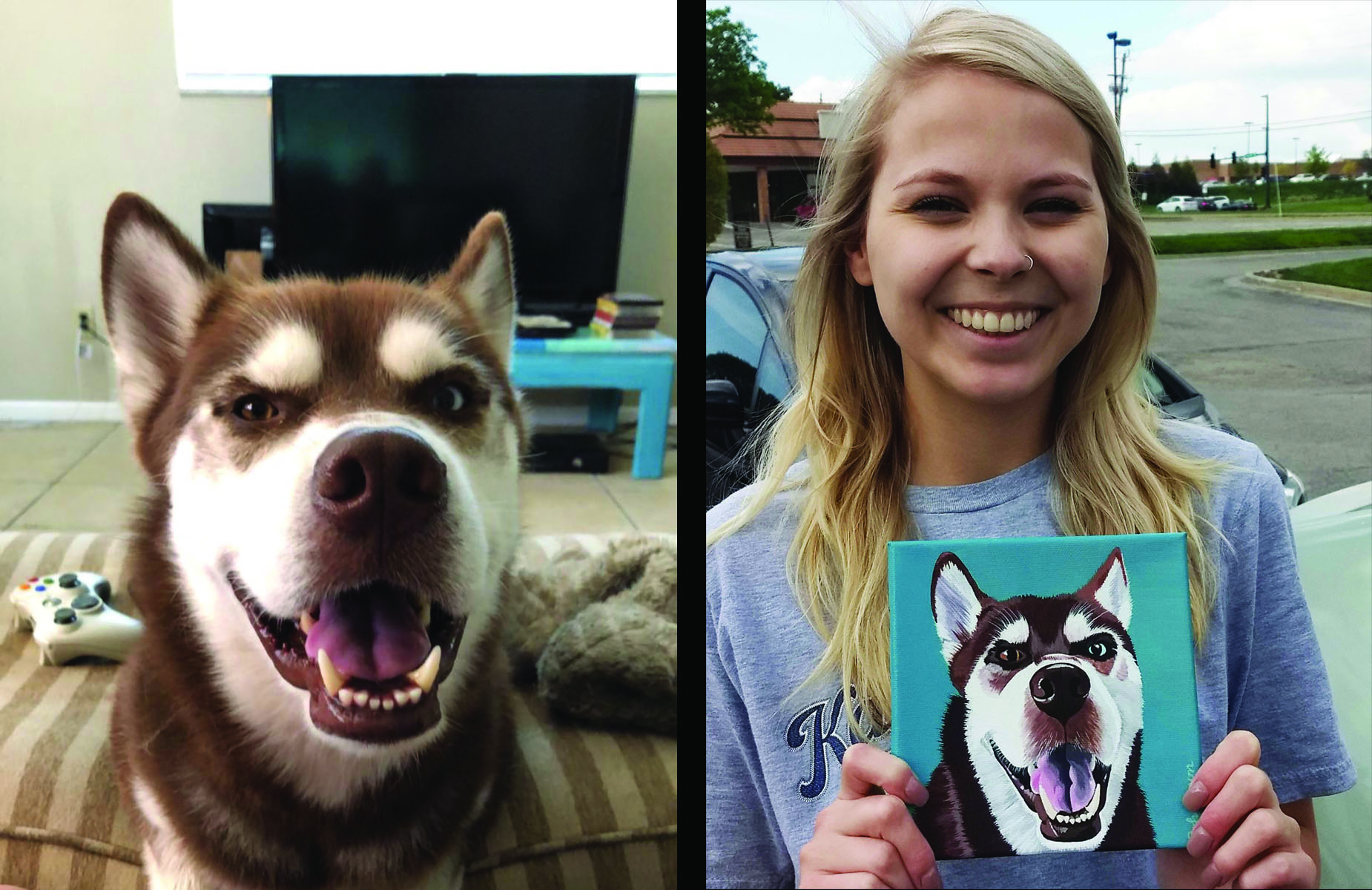 Husky Pet Painting with Proud Owner